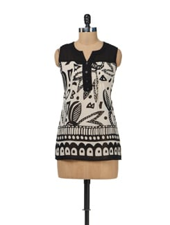 Printed Black & White Top - AND