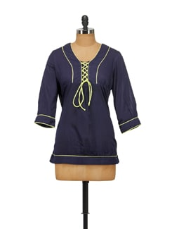 Navy Blue Top With Yellow Tie Up Detailing - House Of Tantrums