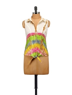 Tie Up Shirt In Vibrant Tie And Dye - House Of Tantrums