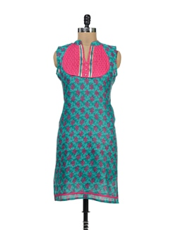 Green Printed Kurta With Cut-out Back - Palette