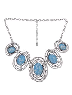 Blue & Silver Ocean Bed Necklace - Blissdrizzle