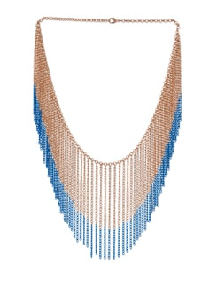 Blue & Gold Tassled Necklace - Blissdrizzle
