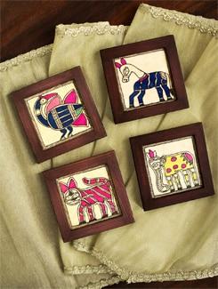 Madhubani Coasters In Brown Wood(Set Of 4) - Tatsat