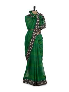 Green Chanderi Saree With Printed Border - URBAN PARI