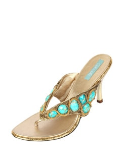 Blue & Gold Studded Sandals - CATWALK