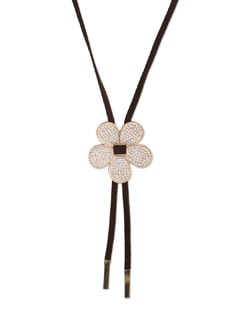 Brown & Gold Floral Necklace - YOUSHINE