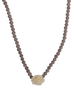 Brown & Beige Floral Necklace - YOUSHINE