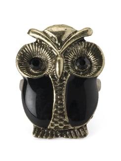 Black & Gold Owl Ring - YOUSHINE