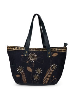 Gold Embroidered Handbag - Ivory Tag