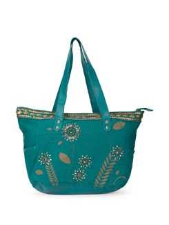 Teal Handbag With Gold Floral Motifs - Ivory Tag