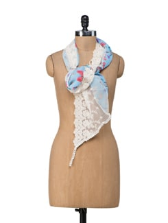 Butterfly Blue Scarf - Ivory Tag