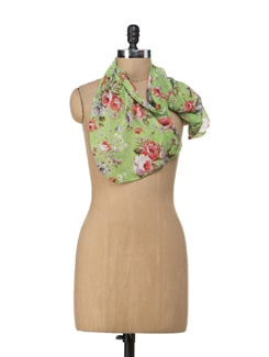 Floral Green Scarf - Ivory Tag
