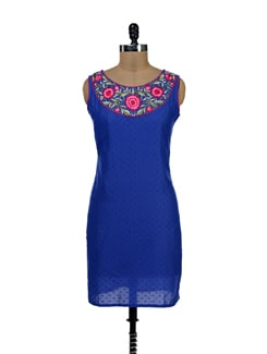 Floral Embroidered Indigo Blue Kurti - NEE