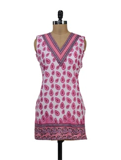 Leafy Pink And White Kurti - NEE