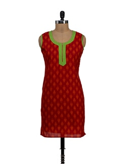 Elegant Print Kurti In Red And Orange - NEE