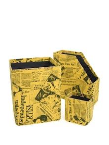 Yellow Combo Set Of 3- Magazine Holder, Storage Bin& Pen Stand - Paperhandy