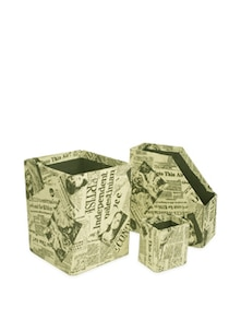 Ivory White Combo Set Of 3- Magazine Holder, Storage Bin& Pen Stand - Paperhandy