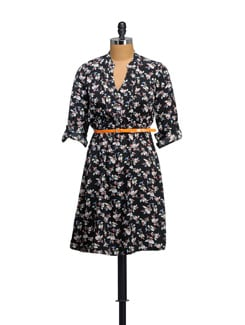 Floral Print Dress With Orange Belt - Myaddiction