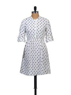 Cat Print Dress With Black Belt - Myaddiction