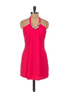 Vibrant Pink Halter Neck Dress - Sanchey