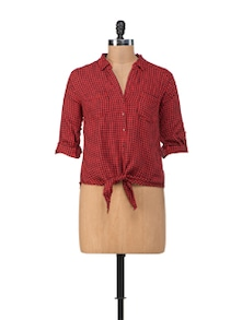 Check Print Shirt With Knot Tie - Chemistry