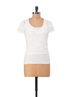 Forest Print Embossed White Top - Chemistry