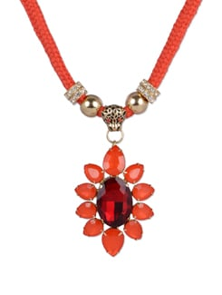 Orange & Gold Flower Pendant Necklace - YOUSHINE