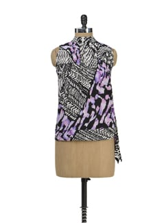 Printed Purple Hem Knot Top - MARTINI