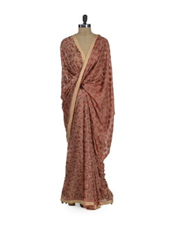 Tan Pink Phulkari Chiffon Saree - Home Of Impression