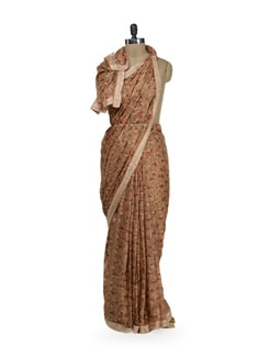 Elegant Peach Phulkari Chiffon Saree - Home Of Impression
