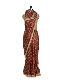 Elegant Maroon Phulkari Chiffon Saree - Home Of Impression