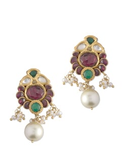 Gold Plated Silver Earring With Bilore Leaflets And Rodolite. - Posy Samriddh