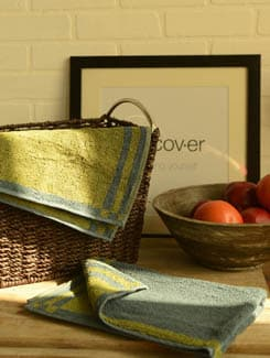 Elegant Blue& Green Hand Towel- Set Of 2 (Small) - SWAB