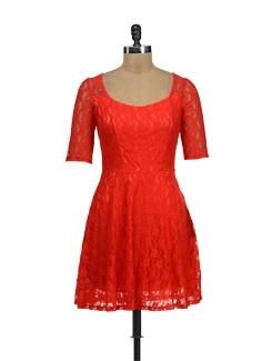Bright Orange Lace Dress - TREND SHOP