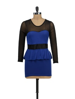 Blue And Black Peplum Dress - TREND SHOP