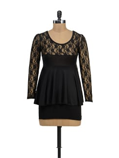 Black Lacey Peplum Top - TREND SHOP