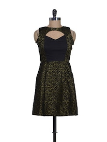 Black And Gold Dress With Cut Out Neckline - Reen's