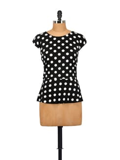 Polka Dotted Peplum Top