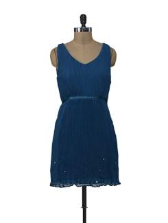 Pleated Teal Dress - ShopImagine