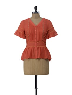 Orange Peplum Top - ShopImagine