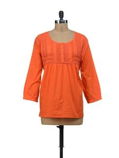 Orange Lace Top - URBAN RELIGION