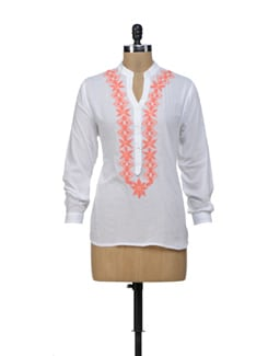 White & Orange Embroidered Top - URBAN RELIGION
