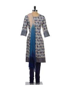 Leaf Print Churidar Suit - KILOL