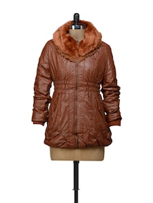 Brown Jacket With Fur Collar - VOILE