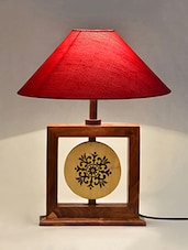 Wood Carved Framed  Red Canvas Lantern Table Lamp - ExclusiveLane