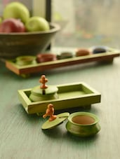Green Parrot Jar Set Of 2 With Tray And Spoon In Wood - ExclusiveLane