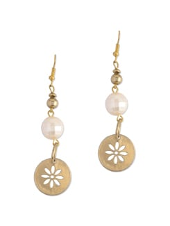 Stamped Flower Pearl Earring - Blend Fashion Accessories