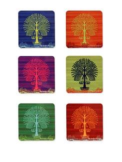 S/6 MDF Coasters Tree Warli - The Elephant Company