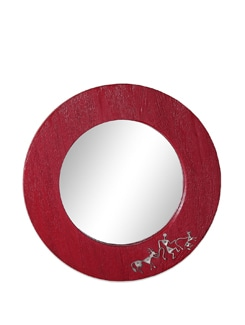 Red Wooden Wall Mirror Warli - The Elephant Company
