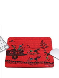 Red Mousepad Cart Warli - The Elephant Company